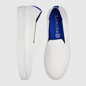 Rothy's Bright White Slip On Sneakers Rainbow